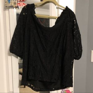 Lane Bryant black lace cold shoulder